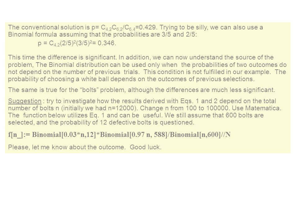 f[n_]:= Binomial[0.03*n,12]*Binomial[0.97 n, 588]/Binomial[n,600]//N